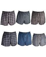 6er Pack Remixx American-Boxershorts für Herren Karo Uni Streifen in 100% Baumwolle