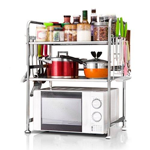 Anna Étagères de Cuisine Four à Micro-Ondes en Acier Inoxydable Étagères Cuisine cuiseurs à Riz Multi-Étages Rack (Couleur : Style-2, Taille : 53cm)
