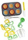 Paquete de 24 Piezas Para Hornear de Boxiki Kitchen | Molde Para Muffin, 6 Cápsulas de Silicona Para Cupcake, 10 Cortadores de Galletas,Espátula, Batidor de Huevo,Mini Taza Medidora y 4 Cucharas Med