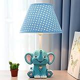 AMOS Kinder Tisch Lampe Schlafzimmer Nachttisch Lampe Cartoon Kreative Mode Junge Cute Little Elephant Geschenk kann abgeblendet werden ( Farbe : Blau )