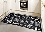 Teppich Modern Flachgewebe Gel Läufer Küchenteppich Küchenläufer Schwarz Weiss mit Schriftzug Coffee Größe 80x150 cm