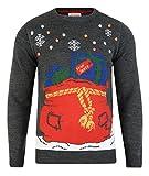 Weihnachts-Strickpullover, Geschenke und Pakete in Beutel mit LED-Lichtern, neuartiges Design, Unisex, Grau - M - Grau