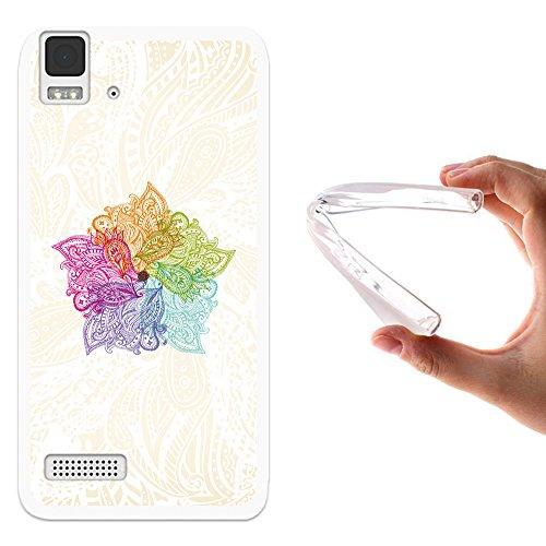 WoowCase Bq Aquaris E4 Hülle, Handyhülle Silikon für [ Bq Aquaris E4 ] Bunte Mandala Handytasche Handy Cover Case Schutzhülle Flexible TPU - Transparent