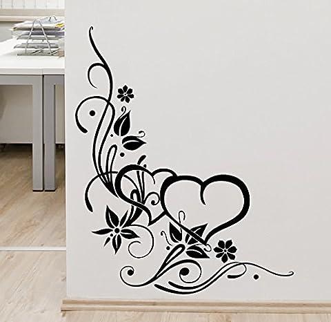 300314sarments, fleurs double cœur 38x 47cm–Sticker mural noir
