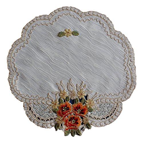 Tischläufer Mitteldecke Tischdecke Tisch-Deckchen Deko Marmor-Motiv mit Orange Blumen Muster Stickerei GRÖßENWAHL (60cm Rund) (Orange-blumen-tischdecke)