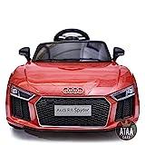 ATAA CARS Audi R8 Spyder - Séige en Cuir, clés, eva -Voiture électrique pour Enfants et Filles Télécommande- Rouge