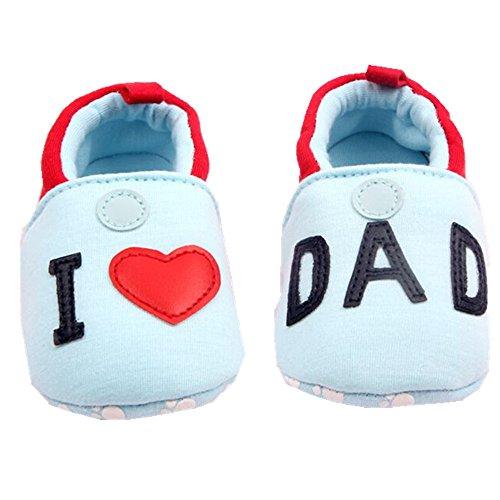 xhorizon ® Niedlich Bezaubernd Baby Jungen Mädchen Ich liebe Mutter/Ich liebe Vater Kleinkind Sport Locker Schuhe Blau-Ich liebe Vater