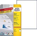 AVERY Zweckform 6125 Universal-Etiketten (A4, Papier matt, 10 Etiketten, 210 x 297 mm, 10 Blatt) weiß