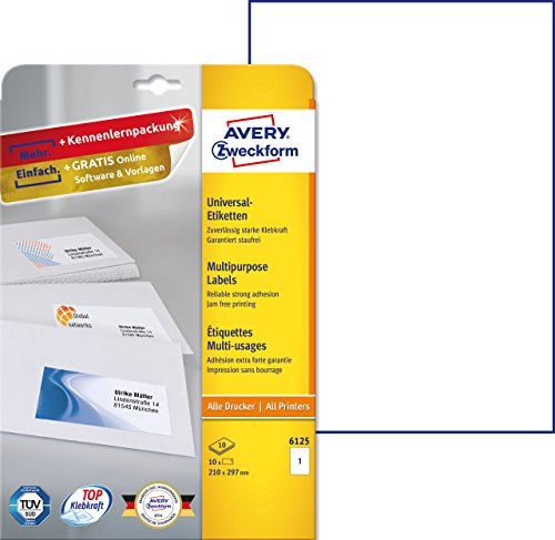210 x 297 mm, 100 Blatt//100 Etiketten europe100 ELA027 Universaletiketten weiß