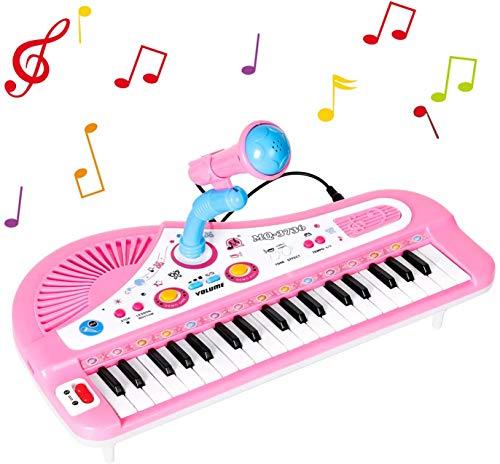 Shayson 37-tecla multifunción órgano teclado Piano electrónico con micrófono de juguete educativo para niños niños niños (rosa)