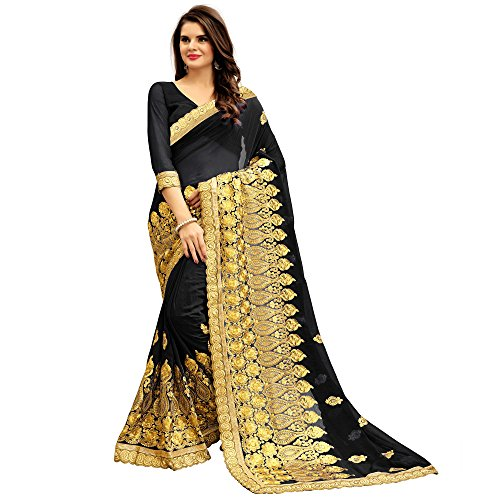 Siddeshwary Fab Women's Black Color Georgette Saree With Blouse Piece