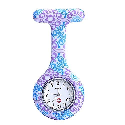 Boolavard® TM Multi Farben Krankenschwester Brosche Fob Tunika Uhr Silikonhülle Krankenschwester Uhren (Windung + Pale Lila Blumen)