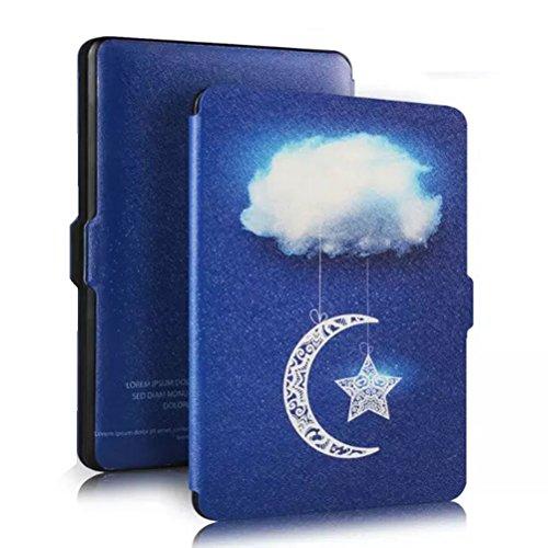 UEETEK Más ligero cubierta del cuero genuino de protección más delgado con despertador automático o de espera para Amazon Kindle Paperwhite (nubes del cielo)