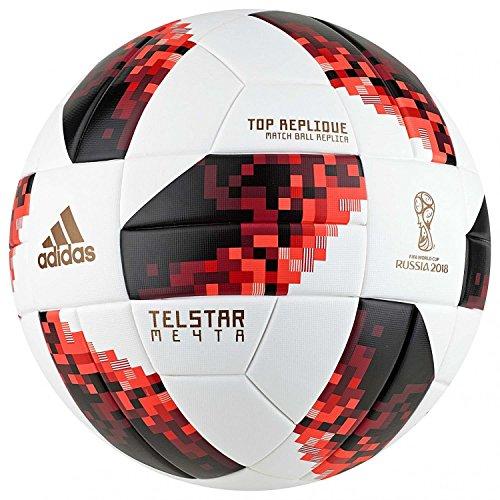 adidas FIFA World Cup Knockout Top Replique Exterior - Pelotas de fútbol (Negro, Rojo, Blanco, 21,8 cm, Exterior, FIFA, Estampado, Textured)