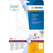 Herma 5079 CD-Etiketten blickdicht (Ø 116 mm, Innenloch groß, auf DIN A4 Papier matt) 50 Stück auf 25 Blatt, weiß, mit Zentrierhilfe, PC-bedruckbar, selbstklebend