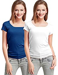 Fashion Line Premium Quality Stylish Printed Round Neck T Shirts For Women _Color : Blue and White _Material : Cotton (Pack of 2 )