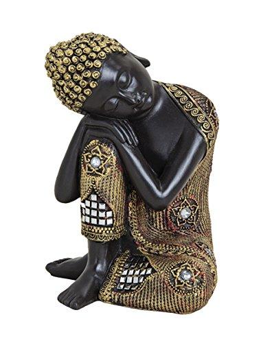 Buddha-Figur 17cm als Deko-Artikel für Haus & Garten | wetterfeste meditierende Buddha-Statue | moderne Deko-Skulptur als Wohn-Accessoire | ideal als Geschenk-Idee für Asien-Fans ()