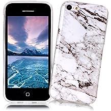 XiaoXiMi Funda iPhone 5C con Textura de Mármol Carcasa de Silicona Slim Soft TPU Silicone Case Cover Funda Protectora Carcasa Delgado Ligero Caso Suave Flexible Casco Anti Rasguños Anti Choque para iPhone 5C - Blanco