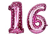 #10: Printed Pink Number Sixteen Foil Balloon 16