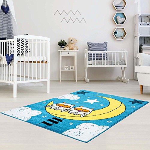 Preisvergleich Produktbild Kinderteppich Play Kids Eulen Mond Sterne türkis gelb Kinderzimmer, Größe in cm:80 x 150 cm