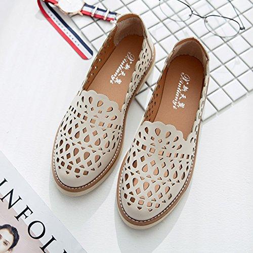 RUGAI-UE Estate sandali donne piede cavo Set Scarpe dello studente Beige