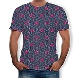 Fenverk Unisex 3D Druckten Sommer-BeiläUfige Kurze HüLsen-T-Shirts T-StüCke BeiläUfige Kurzen äRmeln Print Schmale Passform T Shirts Herren Rundhals Casual Strassenmode(Mehrfarbig 2,XXL)