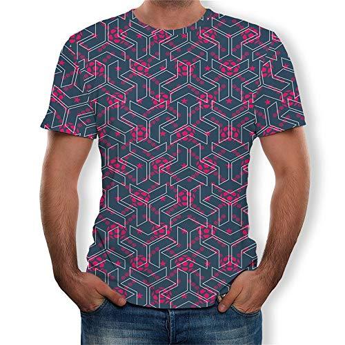 Fenverk Unisex 3D Druckten Sommer-BeiläUfige Kurze HüLsen-T-Shirts T-StüCke BeiläUfige Kurzen äRmeln Print Schmale Passform T Shirts Herren Rundhals Casual Strassenmode(Mehrfarbig 2,L)