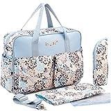 Borsa mamma tascapane multifunzione per passeggino con porta biberon beauty fasciatoio da borsetta e tracolla aggiuntiva a fantasia colore celeste con fiori