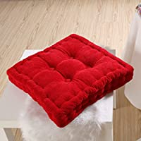 Anterrier Chunky Corderoy Chair Cushion Thick Soft Seat Pad Red Chair Pad (Quadrate)