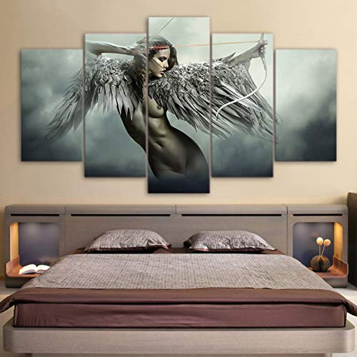 rucke Wandkunst Bilder 5 Stücke Engel Krieger Flügel Gemälde Home Decor Anime Mädchen Poster Rahmen ()
