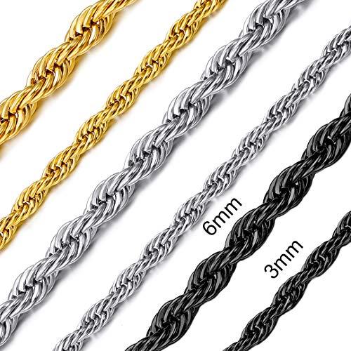 ChainsHouse 6mm Breit 18 inch aus 18K vergoldet Halskette Hip‑Hop Geschenke