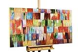 KunstLoft® Acryl Gemälde 'Eine Hommage ans Leben' 140x70cm | original handgemalte Leinwand Bilder XXL | Abstrakt Bunt Kubismus | Wandbild Acrylbild moderne Kunst einteilig mit Rahmen
