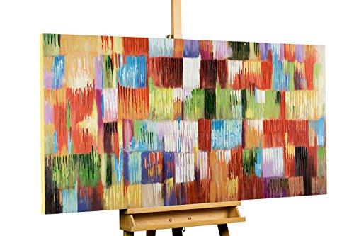 KunstLoft® Acryl Gemälde \'Eine Hommage ans Leben\' 140x70cm | original handgemalte Leinwand Bilder XXL | Abstrakt Bunt Kubismus | Wandbild Acrylbild moderne Kunst einteilig mit Rahmen
