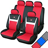 Woltu #253 Autositzbezug /Sitzbezüge /Schonbezüge/Schonbezug /Sitzschoner, mit 'X-RACING'-Muster, Universal passend (Schwarz/Rot AS7312)