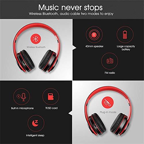 690701f043cc81 Alitoo Bluetooth Cuffie, Wireless Headphone Over Ear con Microfono, Senza  Fili Auricolari Stereo Pieghevoli per Smartphone, Android e Computer-Nero  Rosso