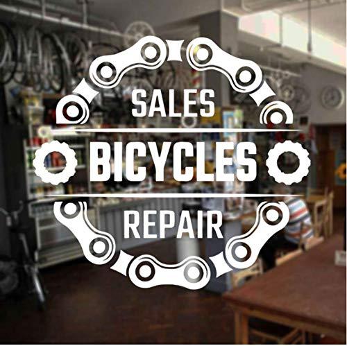 Wandaufkleber Fahrrad Shop Wandaufkleber Verkauf Fahrräder Reparatur Zitat Vinyl Fensteraufkleber Freestyle Dirt Bike Kette Decor Innenwandbild 62x57 cm (Fahrräder Für Den Verkauf)