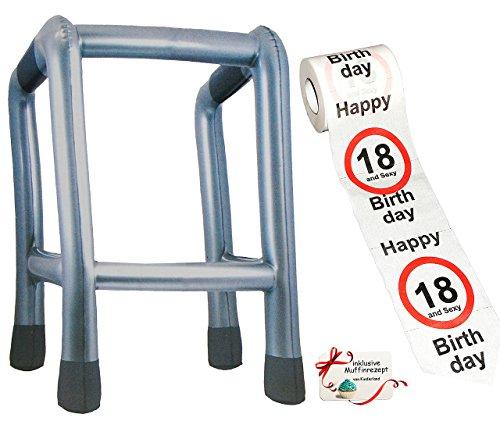 Unbekannt 2 TLG. Set: __ Gehhilfe - ( Aufblasbar ) + Toilettenpapier Rolle -  18. Geburtstag / achtzehn und Sexy - Happy Birthday  - lustiger Partyartikel - für  alt..