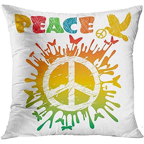 nomonoq Funda de Almohada Signo Azul Hippie Símbolo de Paz Amor Color