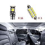 Cobear 12V Blanc Super Brillant a Conduit Le kit de Lampes de lumière intérieure de Voiture pour X4 remplacer pour Les Ampoules halogènes ou HID 19pcs