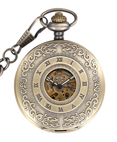 Infinite U - Reloj de bolsillo para hombre, cuerda automática, luminoso, diseño hueco de tela de araña que deja a la vista el esqueleto, con cadena, acero y bronce