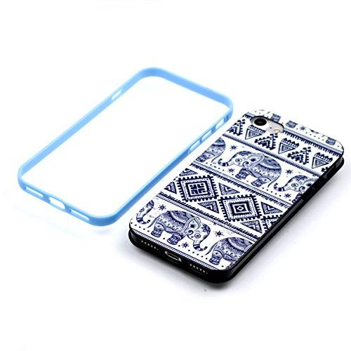 Apple iPhone 8 4.7 Hülle, Voguecase Schutzhülle / Case / Cover / Hülle / 2 in 1 TPU Gel Skin (lächelndes Gesicht 02) + Gratis Universal Eingabestift Elefanten