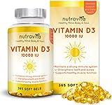 Vitamin D3 10,000 IU 365 Softgels 1 Year Supply by Nutravita