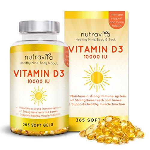 Vitamine D3 10 000 IU par Nutravita | 365 molles gel Vitamines *** 1 ANS ALIMENTATION *** | Partie importante de votre multivitamines quotidien | La vitamine D est utilisé pour le système immunitaire / soutien, la santé des os, cheveux, peau, ongles | 100% GARANTIE DE REMBOURSEMENT | Nutravita Esprit sain, Corps & Soul