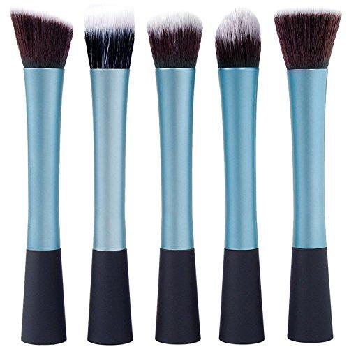 Vococal® 5 PCS maquillage brosse outil sourcil Set Shadow Brush Fondation cosmétiques anti-cernes pinceau bleu