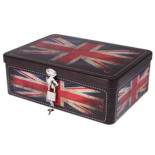 SODIAL Caja de cerradura con llave de metal Caja de almacenamiento de