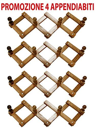4-pz-di-appendiabiti-in-legno-noce-marrone-da-muro-regolabile-indossatore-4-p