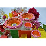 Designer Terracotta Diya-Decorative Earthen Diya - Big Rangoli Shaped -Packed In Window Gift Box. Most Suitable For Gifting Or Own Use.Widely Used During All Religious Rituals, Wedding Return Gift ,Haldi Kumkum, Diwali. Set Of 4 Diyas Made Of Natural Clay