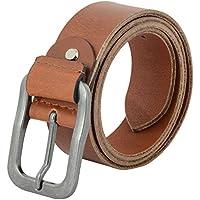 Leather Belts for Men | Full Grain Leather Jean Belt | Handmade Genuine Casual Leather Belt - 40mm - 115 (Brown, 32)