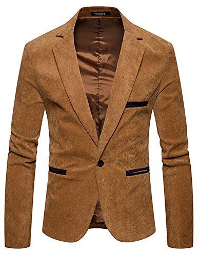 YCUEUST Herren Freizeit Sakko Slim fit Sportlich Anzug Blazer Jacke Anzugsjacke Kurzmantel Beige M