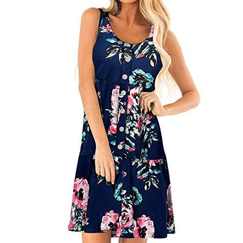 Wawer Damen Sommerkleid Kleider Teen Mädchen Partykleid Holiday Summer Beach Solide Frauen Kurze Ärmel Tasten Kurzarm Knopf Casual Kleid - Solide Mädchen Kleid